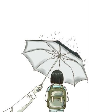 雨中女孩背影简笔画