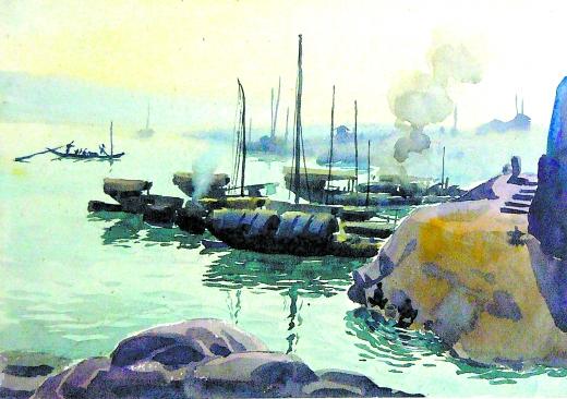 码头风景写生水粉